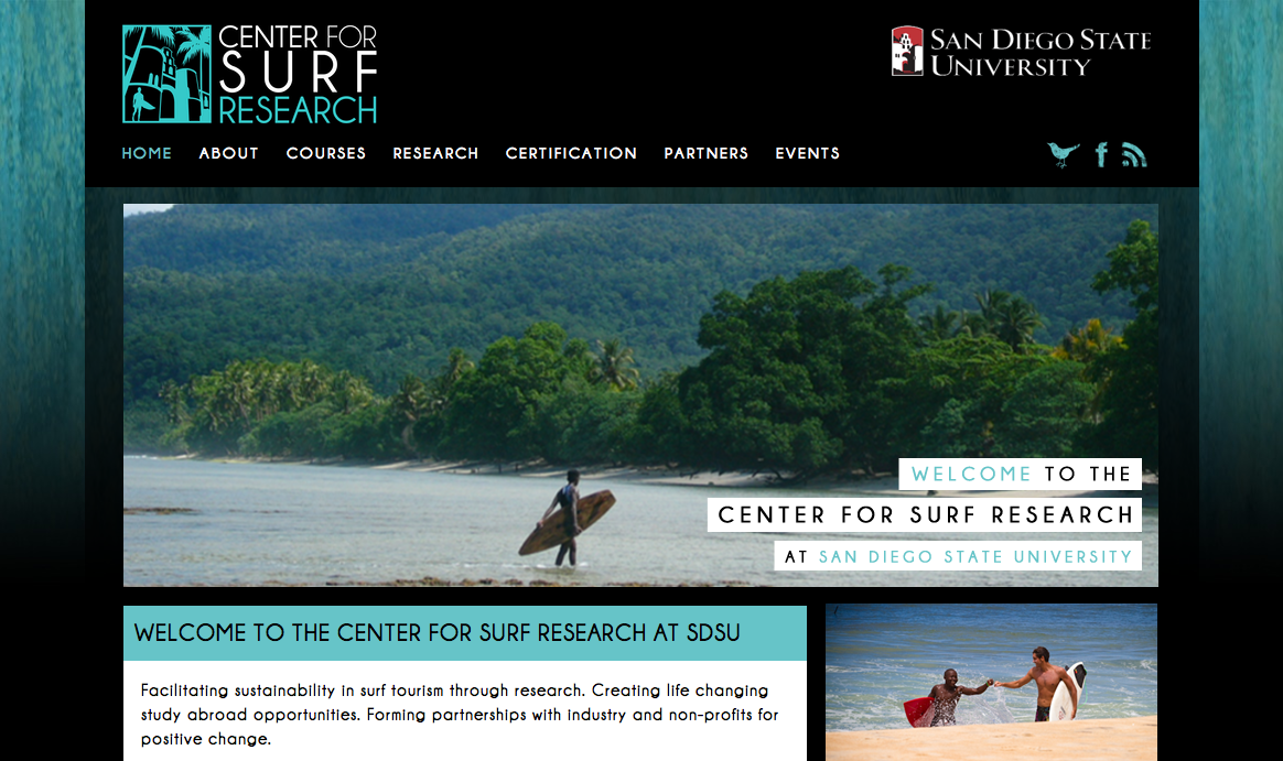 Center for Surf Research Web Design